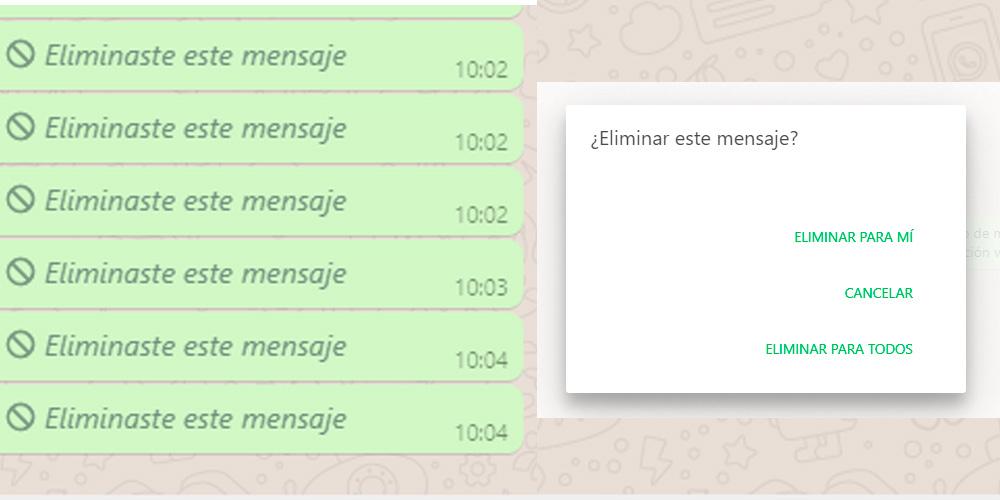 pasos para borrar mensajes de WhatsApp
