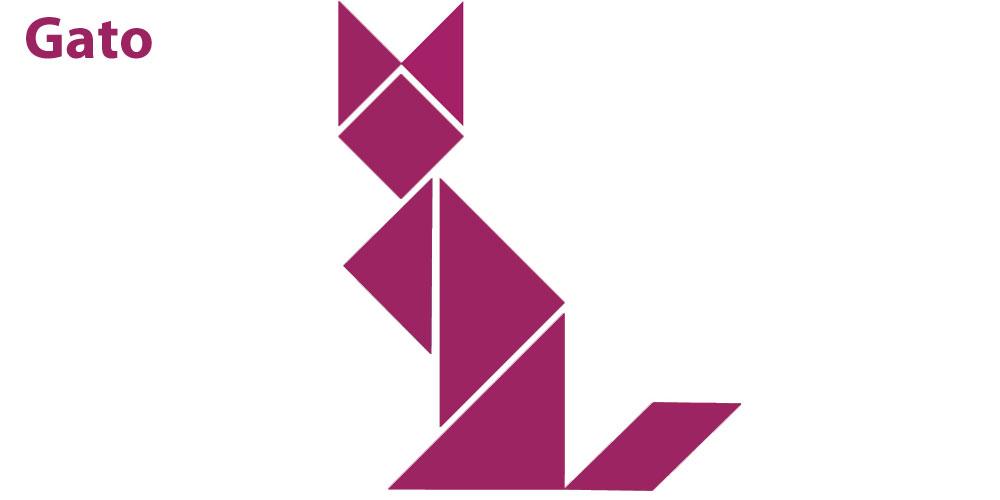 Figura de tangram de un gato