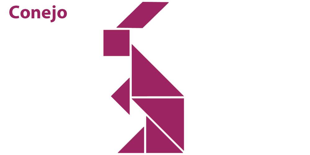 Conejo con figuras de tangram