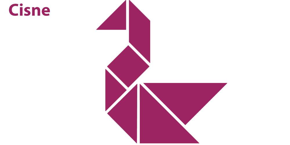 Figura de un cisne con piezas de tangram