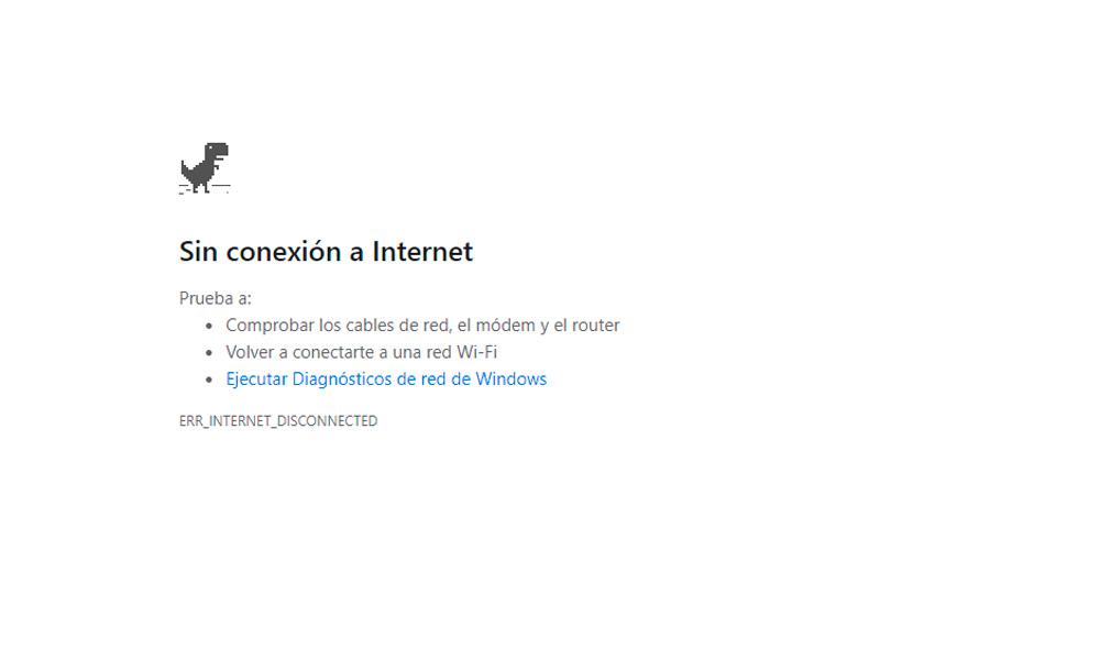 no tienes conexión a Internet