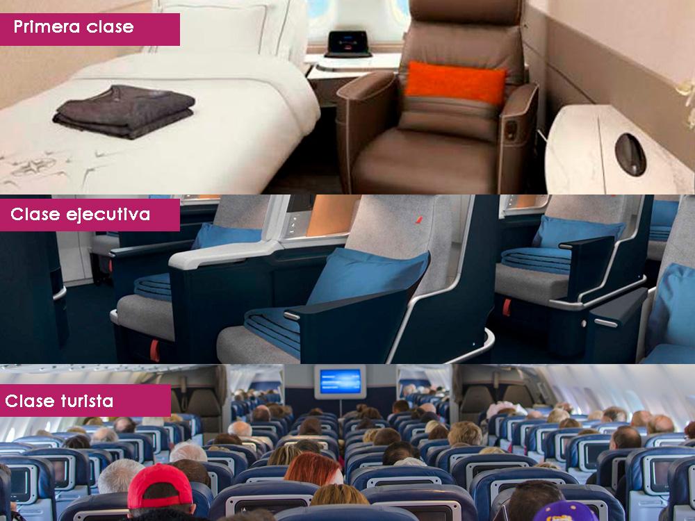 diferencia entre clases en un avión
