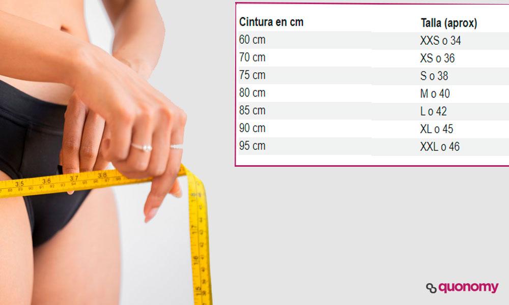 talla aproximada de ropa según la medida de tu cintura