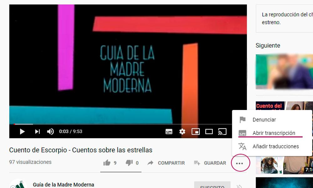 cómo descargar subtítulos de un vídeo de youtube