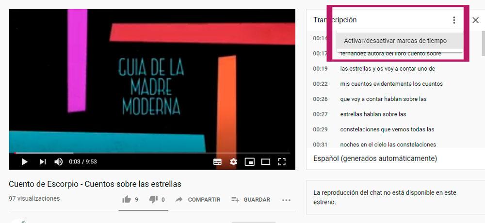 subtítulos de youtube, como quitarlos