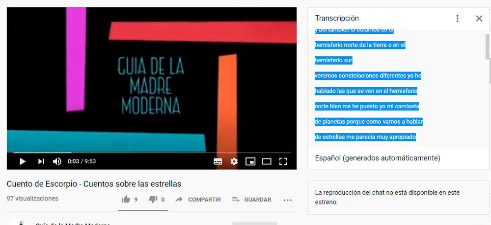 bajar subtítulos de youtube