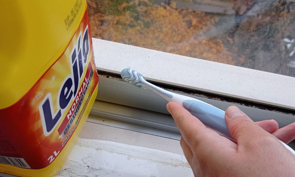 lejía para el moho de la ventana