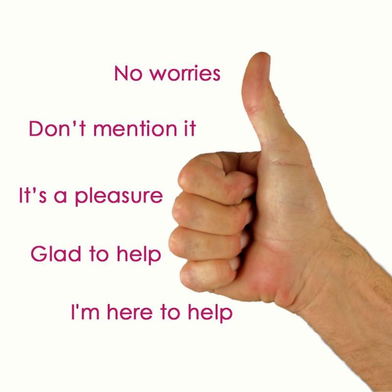 Cómo decir 'de nada' en inglés además de 'you're welcome' (22 fórmulas distintas)