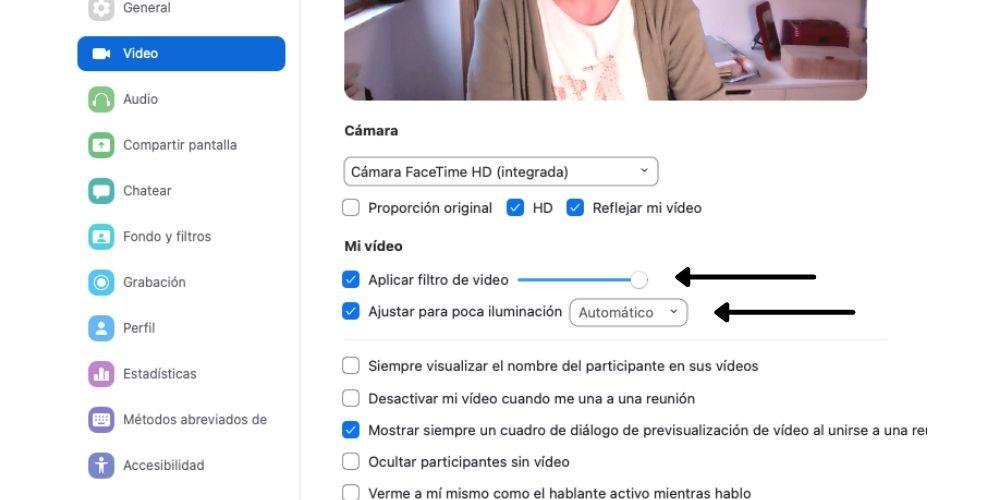 Modificar opciones de video en Zoom