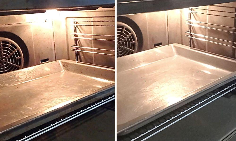antes y después de limpiar el horno