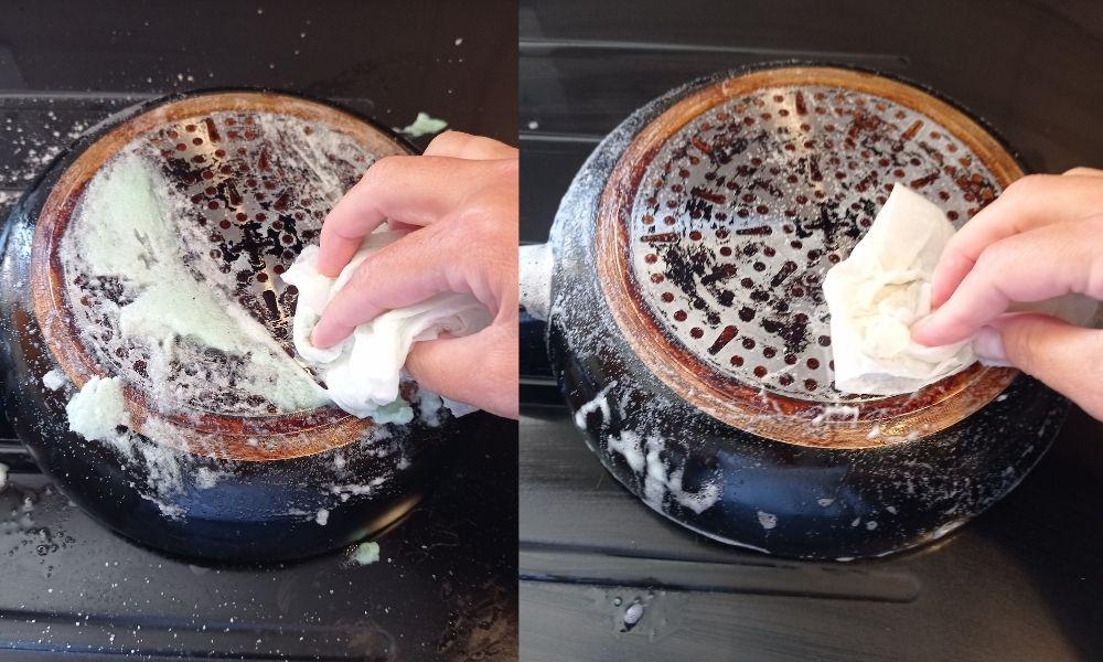 limpiar la base de la sartén, paso 5
