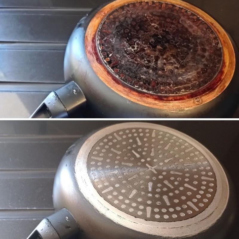 Cómo limpiar la base de una sartén muy sucia
