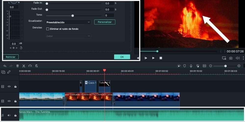 Editar un vídeo en Filmora fácil, audio