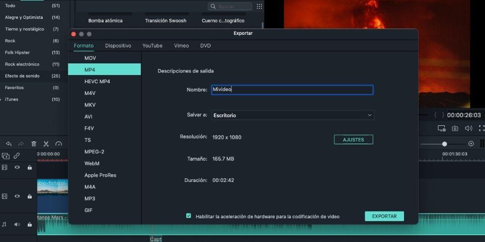 Editar un vídeo en Filmora fácil, exportar
