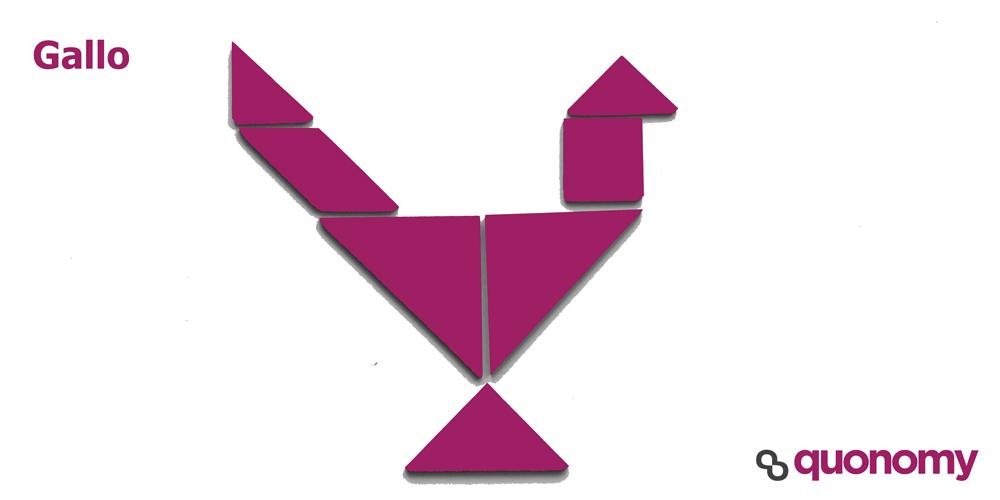 Gallo con figuras de tangram